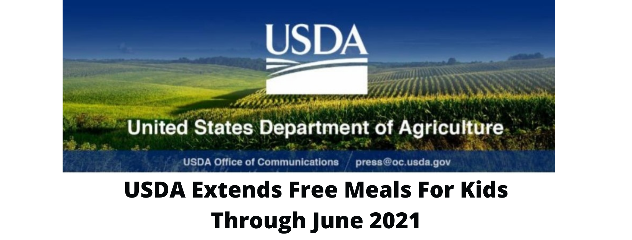 USDA Free Meals for Kids through 2021